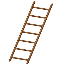 Wooden ladder on white background vector