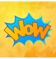 wow comics sound effect with halftone pattern vector image