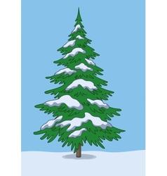 Christmas tree snow and sky vector image vector image