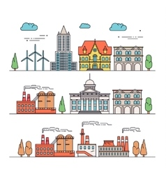 Different types of industrial construction - vector image