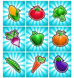 Glossy colorful vegetables vector