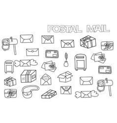 hand drawn postal set coloring book page vector image vector image