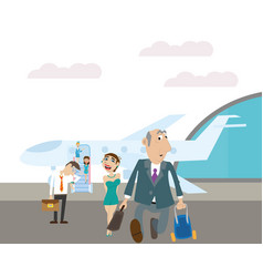 passengers disembarked from the plane vector image