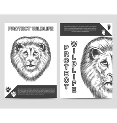 Protect nature brochure with lion vector image vector image