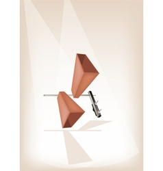 Two Musical Cowbell on Brown Stage Background vector image vector image