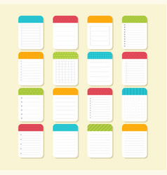 collection of various note papers sheets of vector image vector image