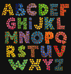 colorful funny acid alphabet on black vector image vector image