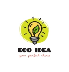 funny doodle style light bulb eco logo vector image