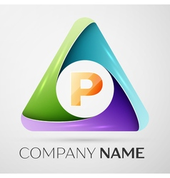 Letter p logo symbol in the colorful triangle vector