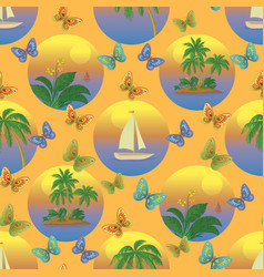 Seamless tropical background vector
