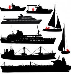 Ship silhouettes vector