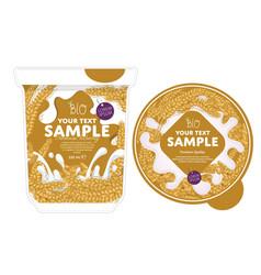 Cereal yogurt packaging design template vector