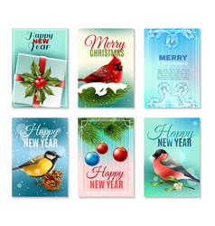 christmas winter cards set vector image