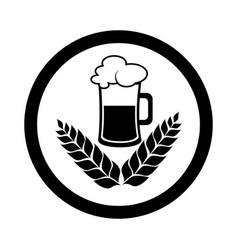 circular emblem with monochrome beer glass vector image vector image