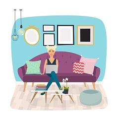 Girls working at home young woman sitting on a vector
