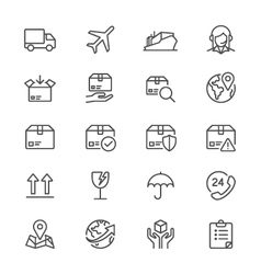 Logistics and shipping thin icons vector image