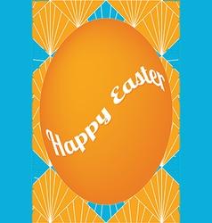Orange easter egg card on fan pattern vector image vector image
