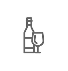 simple bottles of wine line icon symbol and sign vector image