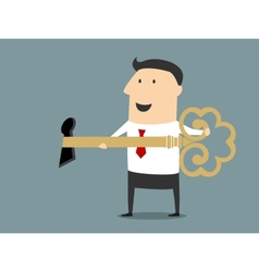 Smiling cartoon businessman opening the lock vector image
