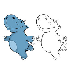 cute little hippo cartoon character vector image vector image