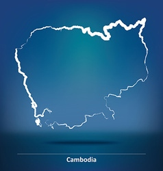 Doodle Map of Cambodia vector image vector image