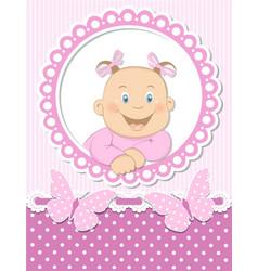 Happy baby girl scrapbook pink frame vector image