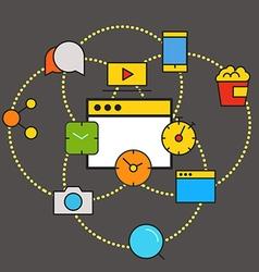 Modern communication scheme Flat design concept vector image vector image