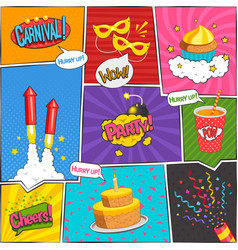 Party Comic Page Design vector image
