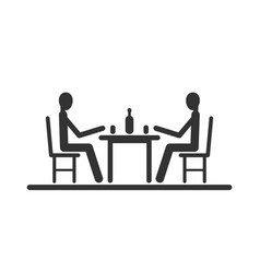 pictogram two stick figure sitting at the table vector image