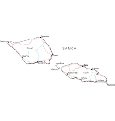 Samoa Black White Map vector image vector image