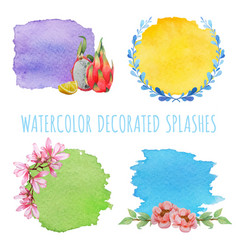 Set of watercolor splashes with decor vector