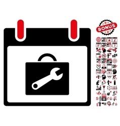 Toolbox Calendar Day Flat Icon With Bonus vector image vector image