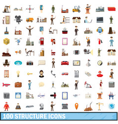 100 structure icons set cartoon style vector