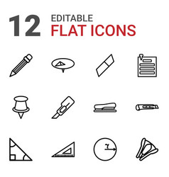 12 stationery icons vector image