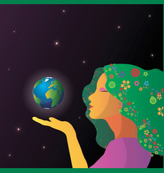 abstract woman face with earth in hands vector image