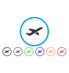 Airplane takeoff rounded icon vector