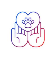 Animal friendly gradient linear icon vector