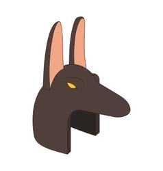 Anubis head icon in cartoon style vector