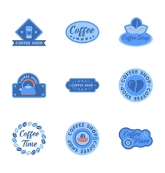 Assembly flat icons coffee shop logo vector