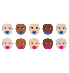 Baby face of different races with dummy vector