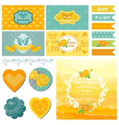 Baby Shower or Party Set - Vintage Butterfly Theme vector