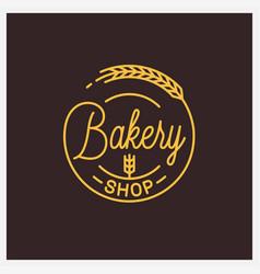 Bakery shop logo round linear logo vector