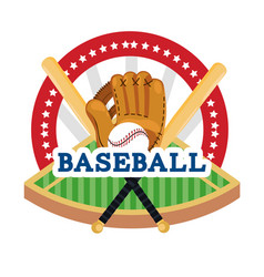Baseball sticker with field and professional vector