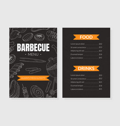 Bbq menu template with hand drawn grilled vector