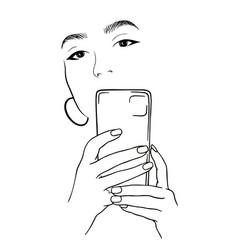 beautiful girl takes a selfie beautiful girl vector image