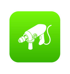 Big corded drill icon green vector