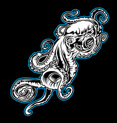 big octopus outline blue drawing on black vector image