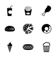 Black fast food icons set vector