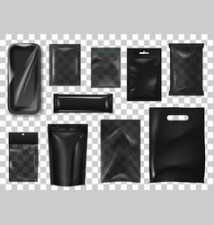 Black pack realistic mock up set vector