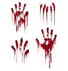 Bloody hand print on white background vector